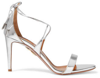 Aquazzura Linda Mirrored-leather Sandals - Silver