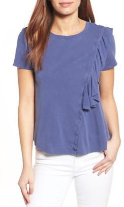Petite Women's Caslon Ruffled Short Sleeve Tee $49 thestylecure.com