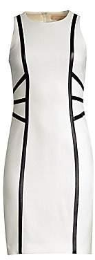 Michael Kors Women's Leather Trim Illusion Sheath Dress