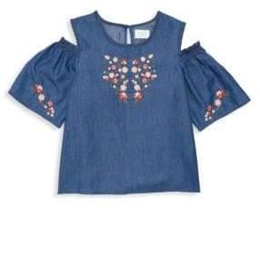 BCBGirls Girl's Cold-Shoulder Embroidered Denim Top