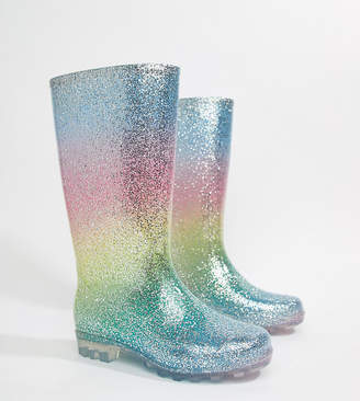 Asos DESIGN Gransta Wide Fit rainbow glitter wellies