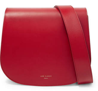 Low Classic Color Block Leather Shoulder Bag - Red