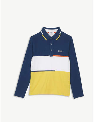 BOSS Block striped cotton polo jersey 4-16 years