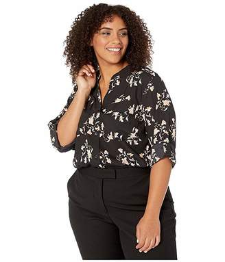Calvin Klein Plus Plus Size Printed Roll Sleeve Blouse