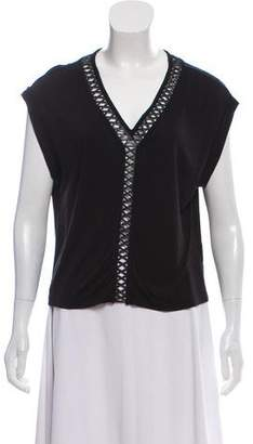 AllSaints Dalia Leather-Accented T-Shirt