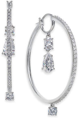 "Rosegold Danori 1 1/2"" Crystal Hoop Earrings"