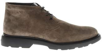 Hogan Derby Light Brown Suede Laced Ankle Boots