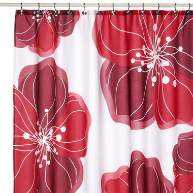 Bed Bath & Beyond Viva Red Floral Fabric Shower Curtain