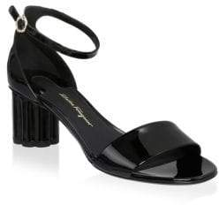 Salvatore Ferragamo Eraclea Patent Leather Ankle-Strap Sandals