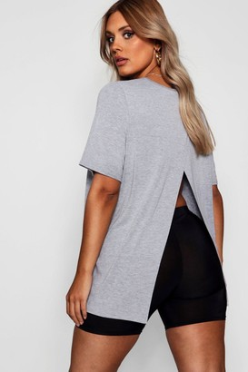 boohoo Plus Jersey Split Open Back T-Shirt