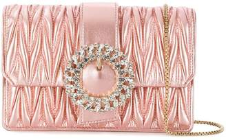 Miu Miu crystal buckle matelassé crossbody bag