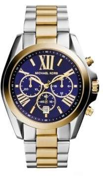 Michael Kors Ladies Stainless Steel Two-Toned Bradshaw Bracelet Watch - Silver Yellow Gold