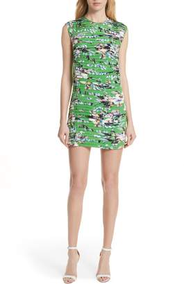 Diane von Furstenberg Pleat Print Silk Minidress