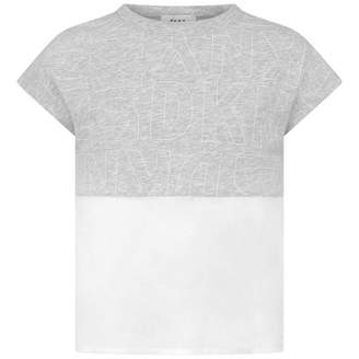 DKNY DKNYGirls Grey Jersey & White Percale Top