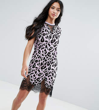 Asos Sleeveless T-Shirt Dress With Lace Inserts In Leopard Print