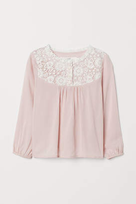 H&M Viscose Blouse with Lace - Pink