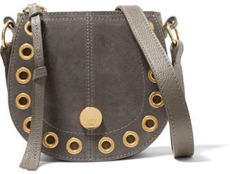 See by Chloe Kriss Mini Eyelet-embellished Textured-leather And Suede Shoulder Bag - Charcoal