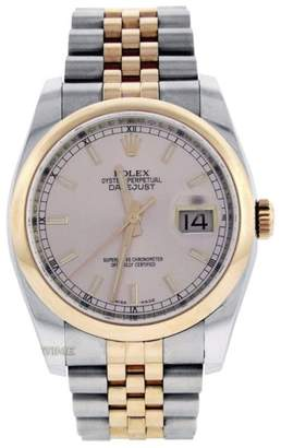 Rolex Datejust 116201 18K Rose Gold & Stainless Steel Jubilee Pink Stick Dial 36mm Mens Watch