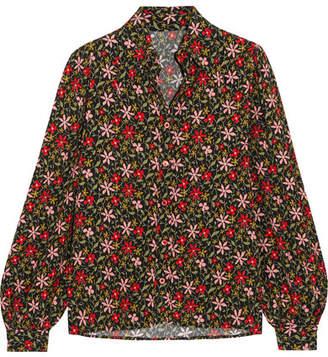 ALEXACHUNG Floral-print Crepe Shirt - Red