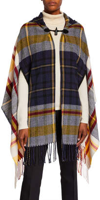 Accessory St. Plaid Asymmetrical Hooded Topper