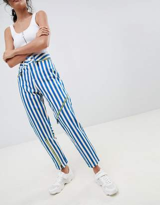 Asos Design Ritson Rigid Mom Jeans In Stripe With Neon Zip Detail