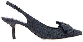Tory Burch Rosalind Bow-embellished Suede Slingback Pumps