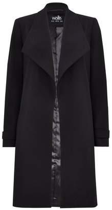 Wallis Black Lined Envelope Collar Duster Jacket