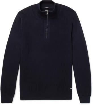HUGO BOSS Textured-Knit Virgin Wool Half-Zip Sweater