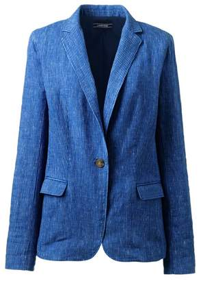 Lands' End Blue Stripe Linen Jacket
