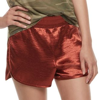Juniors' Fire Shiny Satin Shorts $32 thestylecure.com