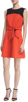 Milly Jenny Stretch-Crepe Combo Dress