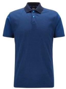 BOSS Hugo Slim-fit cotton polo shirt monogram jacquard front M Open Blue