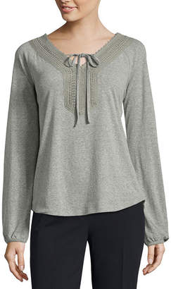 ST. JOHN'S BAY Long Sleeve Y Neck T-Shirt-Womens