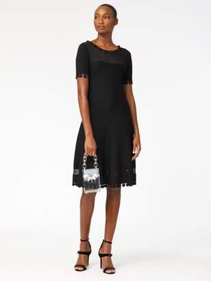 Oscar de la Renta Illusion-Paneled Knit Dress
