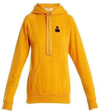 Etoile Isabel Marant Malibu Flocked Logo Cotton Blend Hooded Sweatshirt - Womens - Yellow