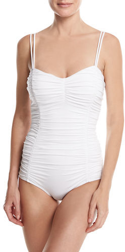 Michael Kors Collection Shirred Princess Seam Solid One-Piece Swimsuit