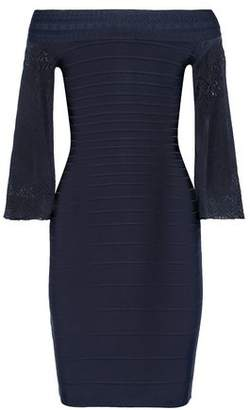 Herve Leger Off-The-Shoulder Pointelle Knit-Paneled Bandage Dress