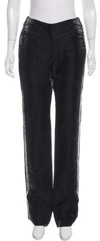 Christian Dior Satin Linen Mid-Rise Pants