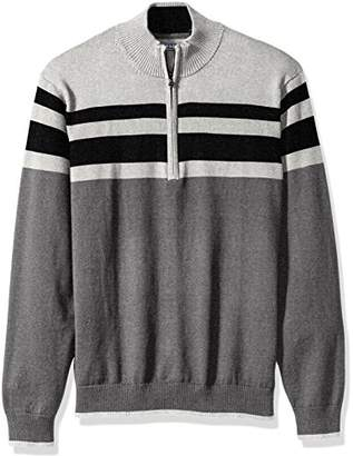 Izod Men's Fine Gauge Striped 1/4 Zip Sweater