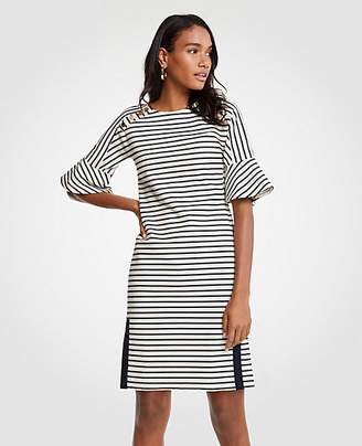 Ann Taylor Petite Striped Fluted Sleeve Shift Dress