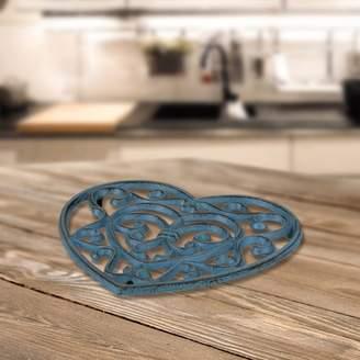Fleur De Lis Living Rustic Turquoise Heart Shaped Cast Iron Trivet