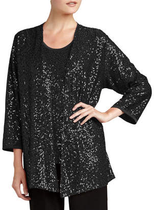 Caroline Rose Sequined Open Jacket, Plus Size