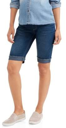 Oh! Mamma Maternity Full Panel Denim Bermuda with Embroidered Back Pockets--Available in Plus Size