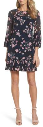 Eliza J Floral Print Bell Sleeve Dress