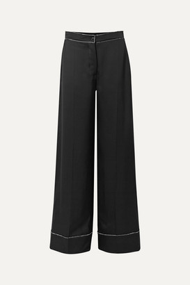 Burberry Crystal-embellished Mulberry Silk-satin Wide-leg Pants - Black
