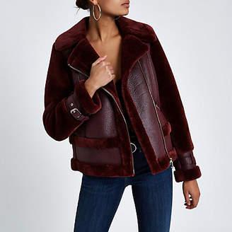 River Island Dark purple faux fur aviator jacket