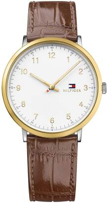 Tommy Hilfiger Slim Sport Watch With Croc-Embossed Brown Leather Strap