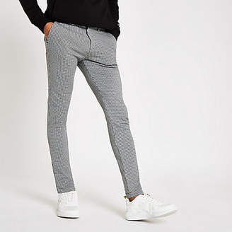 River Island Black jersey houndstooth skinny fit pants