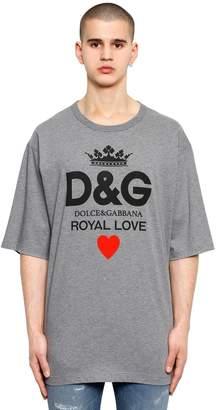 Dolce & Gabbana Oversize Logo Printed Jersey T-Shirt