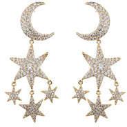Eye Candy La Star & Moon Double-Drop Pave Earrings